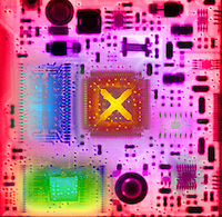 Color enhanced computer circuit board x-ray