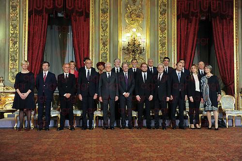 Il nuovo presidente del Consiglio Paolo Gentiloni, giura alla presenza del presidente della Repubblica, Sergio Mattarella