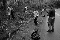 near Welch, WV, May 10, 2009..An 'inmate crew' from McDowell county cleans up a road.