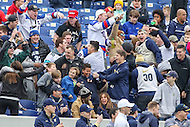 Annapolis, MD - February 11, 2017: Navy Midshipmen fans celebrate after a goal during game between Maryland vs Navy at  Navy-Marine Corps Memorial Stadium in Annapolis, MD.   (Photo by Elliott Brown/Media Images International)