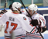 Steve Silva (Northeastern - 17) and Wade MacLeod (Northeastern - 19) celebrate Silva's goal which made it 2-0 Northeastern 31 seconds into the second period.  MacLeod earned the secondary assist on the goal. - The Northeastern University Huskies defeated the visiting Providence College Friars 5-0 on Saturday, November 20, 2010, at Matthews Arena in Boston, Massachusetts.