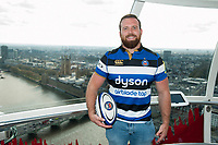"Henry Thomas of Bath Rugby poses for a photo on the London Eye. Bath Rugby Photocall for ""The Clash"" on April 3, 2017 at the London Eye in London, England. Photo by: Patrick Khachfe / Onside Images"