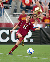 FSU defender Libby Gianeskis (12).  The University of Southern California defeated Florida State University 2-0 to win the 2007 women's NCAA College Cup in College Station, TX on December 9, 2007.