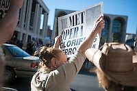 """Hundreds of Jews and supporters protest in front of the Metropolitan Opera at Lincoln Center on opening night, Monday, September 22, 2014 against the October performance of the opera, """"The Death of Klinghoffer"""". The 1991 opera by John Adams portrays the murder of 69 year old wheelchair bound Leon Klinghoffer by terrorists from the Palestine Liberation Front in 1985 aboard a cruise ship. The coalition of organizations behind the protest contend that the opera is anti-semitic and will incite hatred agains Jewish people. (© Richard B. Levine)"""