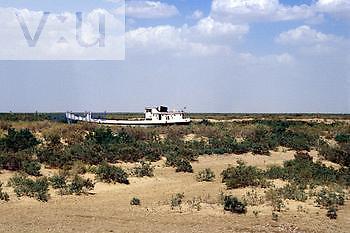 Shore of receding Aral Sea, Nunyak, Uzbekistan