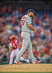 28 May 2016: St. Louis Cardinals starting pitcher Adam Wainwright walks up the mound after giving up a home tun to Ryan Zimmerman in the 2nd inning against the Washington Nationals at Nationals Park in Washington, DC. The Cardinals defeated the Nationals 9-4 to take a 2-games to 1 lead in their 4-game series. Mandatory Credit: Ed Wolfstein Photo *** RAW (NEF) Image File Available ***