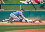 14 March 2016: Tampa Bay Rays infielder Pat Blair, gets a sliding Mallex Smith out at third during a pre-season Spring Training game against the Atlanta Braves at Champion Stadium in the ESPN Wide World of Sports Complex in Kissimmee, Florida. The Ray fell to the Braves 5-0 in Grapefruit League play. Mandatory Credit: Ed Wolfstein Photo *** RAW (NEF) Image File Available ***