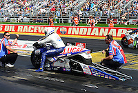 Sept 9, 2012; Clermont, IN, USA: NHRA crew members for pro stock motorcycle rider Hector Arana Jr during the US Nationals at Lucas Oil Raceway. Mandatory Credit: Mark J. Rebilas-