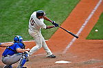 14 September 2008: Cleveland Indians' infielder Andy Marte connects against the Kansas City Royals at Progressive Field in Cleveland, Ohio. The Royal defeated the Indians 13-3 to take the 4-game series three games to one...Mandatory Photo Credit: Ed Wolfstein Photo