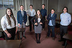 From left, Lori Bentz, Alex Kneier, Baylie Pollock, Faith Voinovich, Ben Bowald, Colin Espinosa and Andrew Stroud of the C-Suite Student Entrepreneurship Team meet in the a Central Classroom Building on West Union Street on February 1, 2017.
