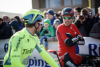 Greg Van Avermaet (BEL/BMC) chatting with Adam Blythe (GBR/Tinkoff) at the start (trying to keep warm)<br /> <br /> Kuurne-Brussel-Kuurne 2016