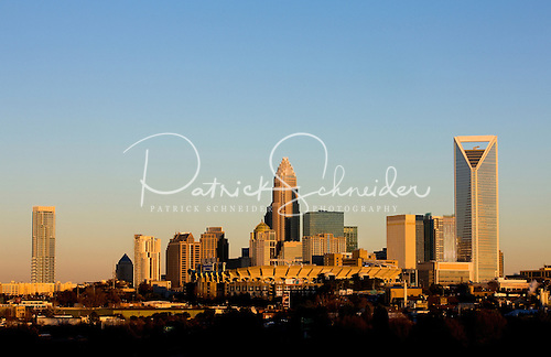 Charlotte skyline color transformation by sun