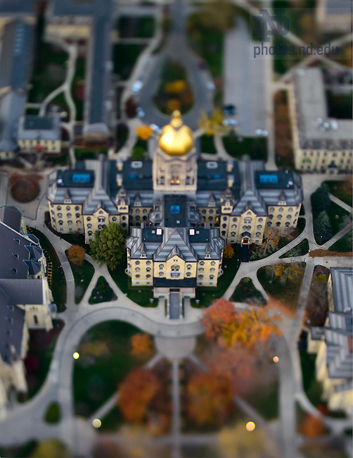 Oct. 24, 2012; Main Building aerial with tilt-shift lens...Photo by Matt Cashore/University of Notre Dame