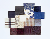 Collection of fabric swatches illustrating the range of colours between violet and midnight