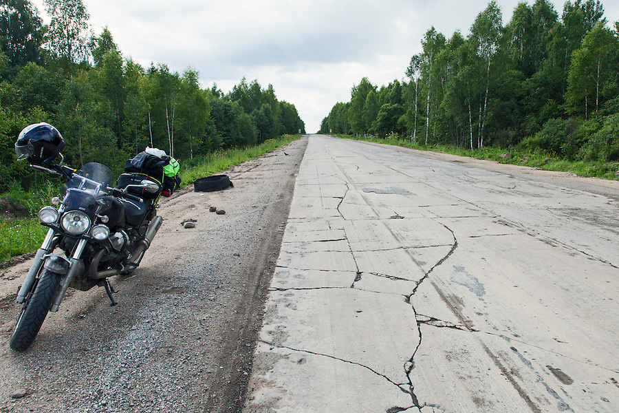Rzhev, Russia, 24/07/2013.<br /> Dilapidated section of the M9/E22 Baltic highway to Moscow.