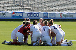 Virginia's starters huddle up before the start of the game on Wednesday, November 2nd, 2005 at SAS Stadium in Cary, North Carolina. The University of Virginia Cavaliers defeated the Wake Forest Demon Deacons 2-1 during their Atlantic Coast Conference Tournament Quarterfinal game.