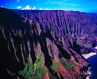 Na Pali Cliffs, Kokee State Park, Island of Kauai, Hawaii    Pacific Ocean North Coast of Kauai   Also Na Pali Cliffs State Park   Above Kalalau Beach