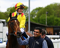 Winner of The Priority Mailing & Digital Print Claiming Stakes, Sans Souchi Bay ridden by Holly Doyle and trained by Richard Hannon  enter the Winners enclosure during Afternoon Racing at Salisbury Racecourse on 18th May 2017