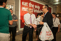 New York Mayoral candidate Sal Albanese campaigns at the Pomegranate kosher supermarket in the predominantly Jewish neighborhood of Midwood in Brooklyn on Tuesday, September 3, 2013. The Jewish New Year, Rosh Hashonah, starts at sundown on Wednesday, September 4 and shoppers were stocking up on their holiday provisions. Albanese and candidate Erick Salgado were excluded from the night's debate by the debate organizers.   (© Richard B. Levine)