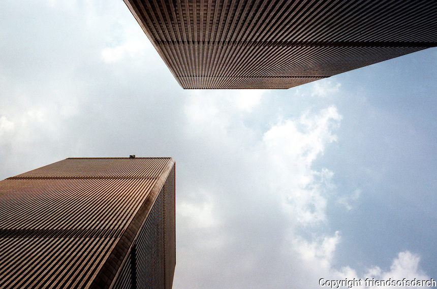 N.Y. City: World Trade Center, looking up.  Photo '88.