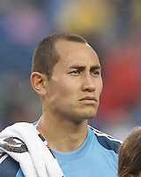 New York Red Bulls goalkeeper Luis Robles (31). In a Major League Soccer (MLS) match, the New England Revolution (blue) tied New York Red Bulls (white), 1-1, at Gillette Stadium on May 11, 2013.
