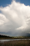 Storm clouds building over the Purcell Mountains with a low rainbow forming near the trees