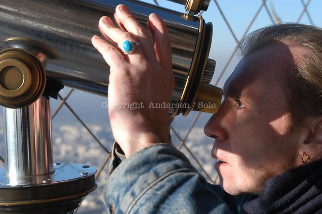 French author Vincent Ravalec in La Tour Eiffel for a novel he publish.