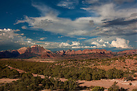 799800170 thunderstorms and clouds form over west temple and zion geological formations in this view from a backcountry scenic byway near hurricane utah