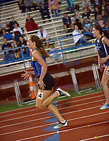 NWA Democrat-Gazette/BEN GOFF @NWABENGOFF<br /> Hannah Lueders of Rogers and Reaghan Smithpeters of Springdale Har-Ber sprint to the finish in the girls 200 meter dash Thursday, April 20, 2017, during the McDonald Relays at Fort Smith Southside. Lueders won with a time of 25.79 seconds.