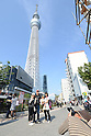 May 27, 2012, Tokyo, Japan - Visitors photograph the newly opened Tokyo Skytree on Sunday, May 27, 2012. Tokyo Skytree, the world's tallest broadcasting tower, and surrounding facilities had 564,000 visitors in its first weekend since opening last week. The good weather on both days helped push the figure above the initial forecast of about 400,000 visitors. (Photo by AFLO) -ty-