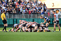 Chris Cook of Bath Rugby puts the ball into a scrum. West Country Challenge Cup match, between Bath Rugby and Gloucester Rugby on September 26, 2015 at the Recreation Ground in Bath, England. Photo by: Patrick Khachfe / Onside Images
