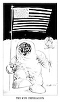 The New Imperialists. (a 1969 moon landing cartoon from PUNCH shows an American astronaut with USA flag walking his British bulldog)