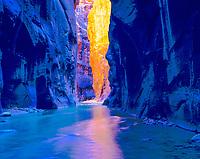 The Zion Narrows, Zion National Park, Utah  Slot canyon thousands of feet deep, Virgin River