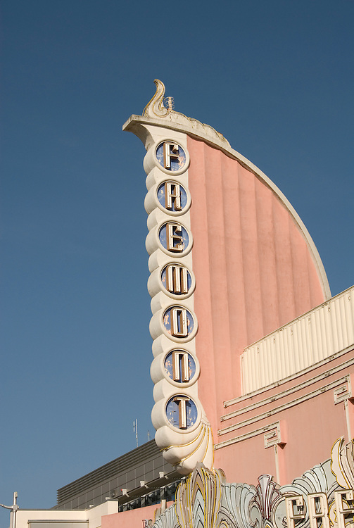 California, San Luis Obispo County: Art Deco Fremont Theater in downtown San Luis Obispo..Photo caluis142-70866..Photo copyright Lee Foster, www.fostertravel.com, 510-549-2202, lee@fostertravel.com