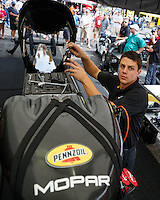 Aug 19, 2016; Brainerd, MN, USA; Crew members for NHRA top fuel driver Leah Pritchett during qualifying for the Lucas Oil Nationals at Brainerd International Raceway. Mandatory Credit: Mark J. Rebilas-USA TODAY Sports