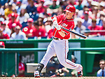 31 May 2014: Washington Nationals outfielder Nate McLouth in action against the Texas Rangers at Nationals Park in Washington, DC. The Nationals defeated the Rangers 10-2, notching a second win of their 3-game inter-league series. Mandatory Credit: Ed Wolfstein Photo *** RAW (NEF) Image File Available ***