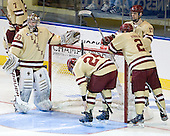 Chris Venti (BC - 30), Bill Arnold (BC - 24), Chris Kreider (BC - 19), Brian Dumoulin (BC - 2) The Boston College Eagles defeated the Air Force Academy Falcons 2-0 in their NCAA Northeast Regional semi-final matchup on Saturday, March 24, 2012, at the DCU Center in Worcester, Massachusetts.
