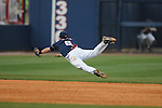Ole Miss' Blake Newalu (6) makes a diving stop vs. Wright State at Oxford University Stadium in Oxford, Miss. on Saturday, February 19, 2011. Ole Miss won 5-4 in 10 innings to improve to 2-0 on the season.