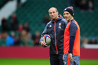 England Forwards Coach Steve Borthwick and Defence Coach Paul Gustard look on during the pre-match warm-up. Old Mutual Wealth Series International match between England and South Africa on November 12, 2016 at Twickenham Stadium in London, England. Photo by: Patrick Khachfe / Onside Images
