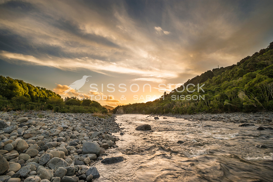 Sunset, Hutt Valley River, Upper Hutt, New Zealand - stock photo, canvas, fine art print