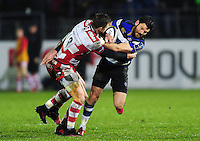 Jeff Williams of Bath Rugby takes on the Gloucester Rugby defence. Anglo-Welsh Cup match, between Bath Rugby and Gloucester Rugby on January 27, 2017 at the Recreation Ground in Bath, England. Photo by: Patrick Khachfe / Onside Images
