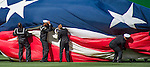 7 April 2016: A Giant US Flag is re-furled after honoring America by covering the outfield prior to the Washington Nationals' Home Opening Game against the Miami Marlins at Nationals Park in Washington, DC. The Marlins defeated the Nationals 6-4 in their first meeting of the 2016 MLB season. Mandatory Credit: Ed Wolfstein Photo *** RAW (NEF) Image File Available ***