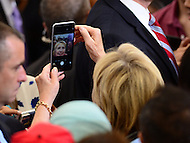Philadelphia, PA - August 16, 2016: Democratic presidential candidate Hillary Clinton takes a selfie for a supporter during a campaign rally in Philadelphia, Pennsylvania, August 16, 2016.  (Photo by Grant Hollman/Media Images International)
