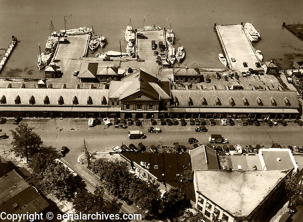 Historical aerial photograph washington fish market for San francisco fish market