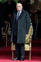 Roma, 24 Marzo 2013.Commemorazione per il 69° anniversario dell'eccidio delle Fosse Ardeatine,compiuto a Roma dalle truppe di occupazione della Germania nazista il 24 marzo 1944, furono uccisi, 335 civili e militari italiani. Il Presidente della Repubblica Giorgio Napolitano.