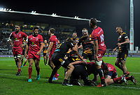 The Chiefs celebrate Charlie Ngatai's try during the Super Rugby match between the Chiefs and Reds at Yarrow Stadium in New Plymouth, New Zealand on Saturday, 6 May 2017. Photo: Dave Lintott / lintottphoto.co.nz