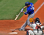14 September 2008: Kansas City Royals' outfielder David DeJesus fouls one off in the third inning against the Cleveland Indians at Progressive Field in Cleveland, Ohio. The Royal defeated the Indians 13-3 to take the 4-game series three games to one...Mandatory Photo Credit: Ed Wolfstein Photo