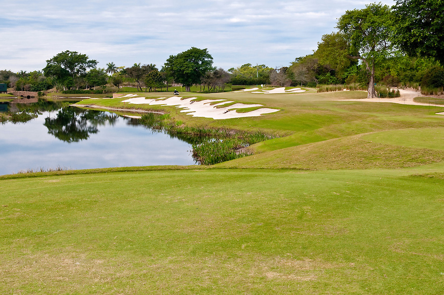 View of lake in golf course in florida.