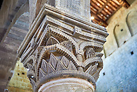 Romanesque column capital in the 8th century Romanesque Basilica church of St Peters, Tuscania, Lazio, Italy