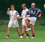 Rangers report back for pre-season training at Bellahouston Park in July 1995 as Paul Gasgoigne meets his team mates Stuart McCall and Gordon Durie for the first time